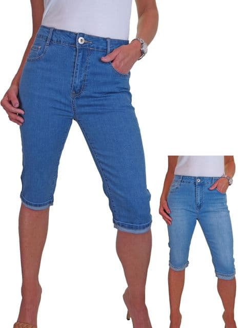 Womens High Waisted Cropped Denim Jeans